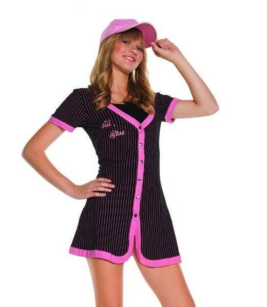 baseball halloween costume girls s m small medium tween sports neon pink dress elegantmoments completecostume - Baseball Halloween Costume For Girls