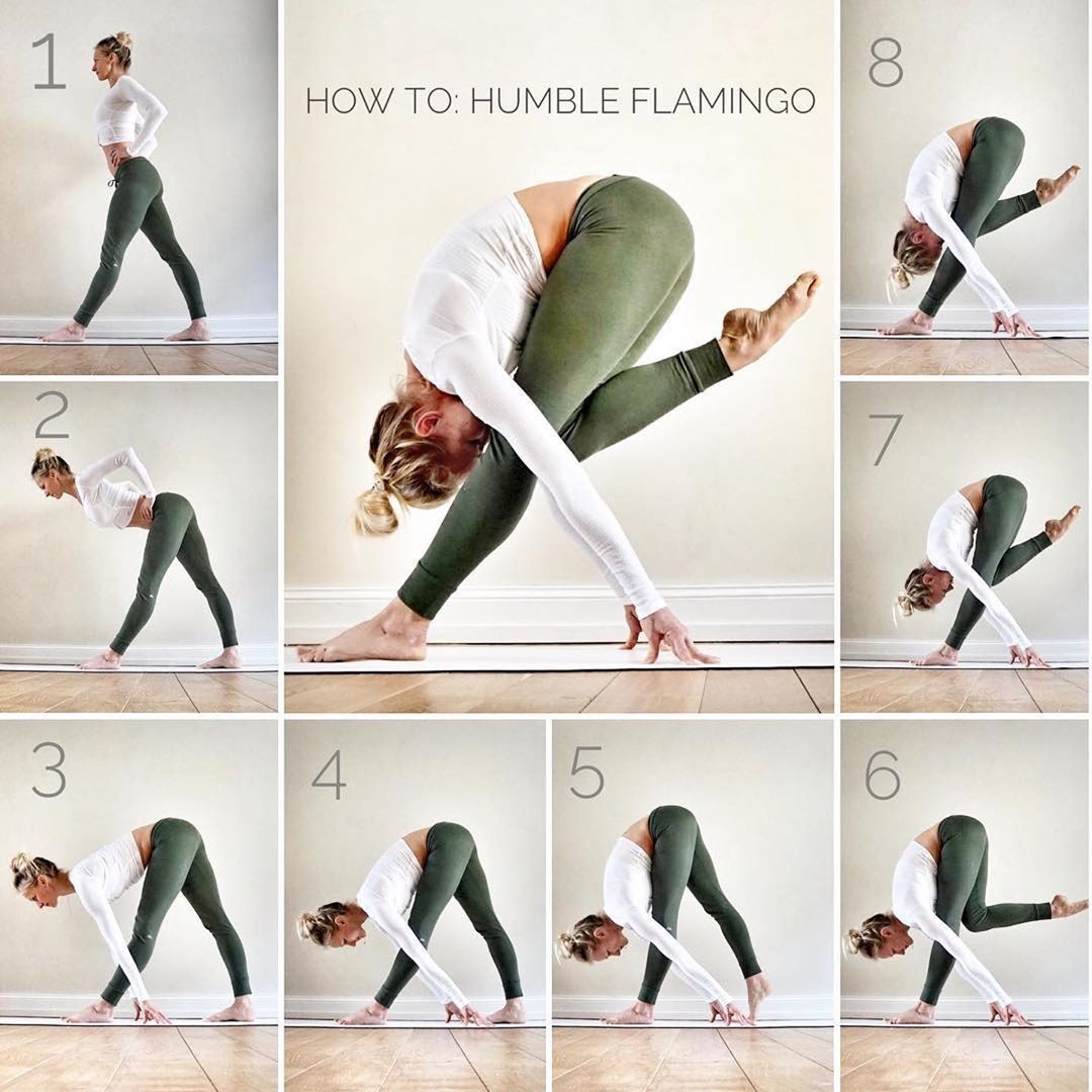 Flamingo Pose can be practiced at the beginning of