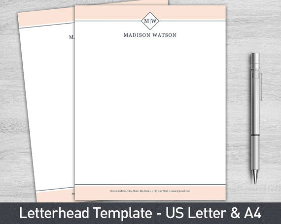 Letterhead Template for Word Personalized by ProGraphicDesign - company letterhead word template
