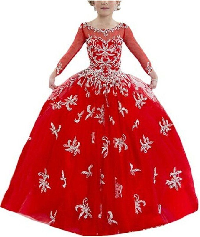 SuMeiyue Girls' Red Scoop Appliques Zipper Party Gown Flower Pageant Dresses