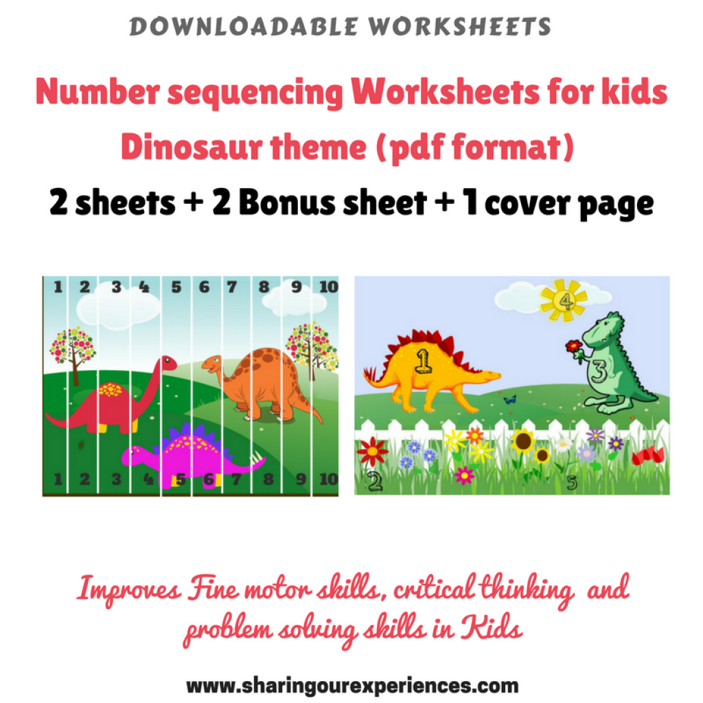 Number Sequencing Worksheets Dinosaur Theme Printables