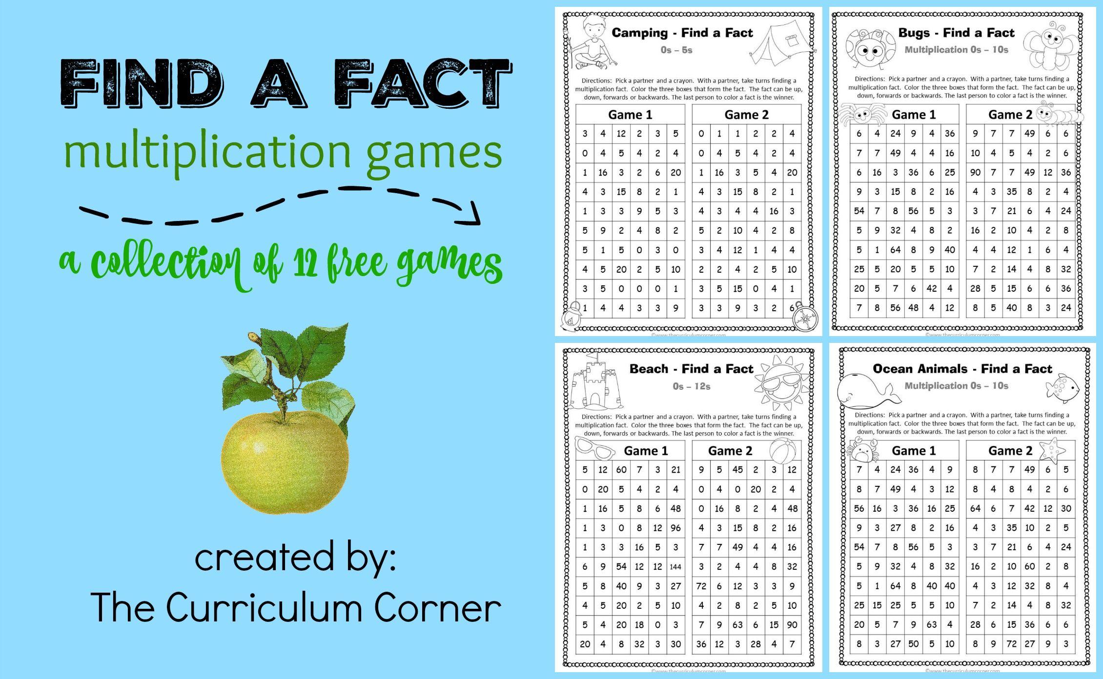 Find a Fact Multiplication Games | Multiplication, Multiplication ...