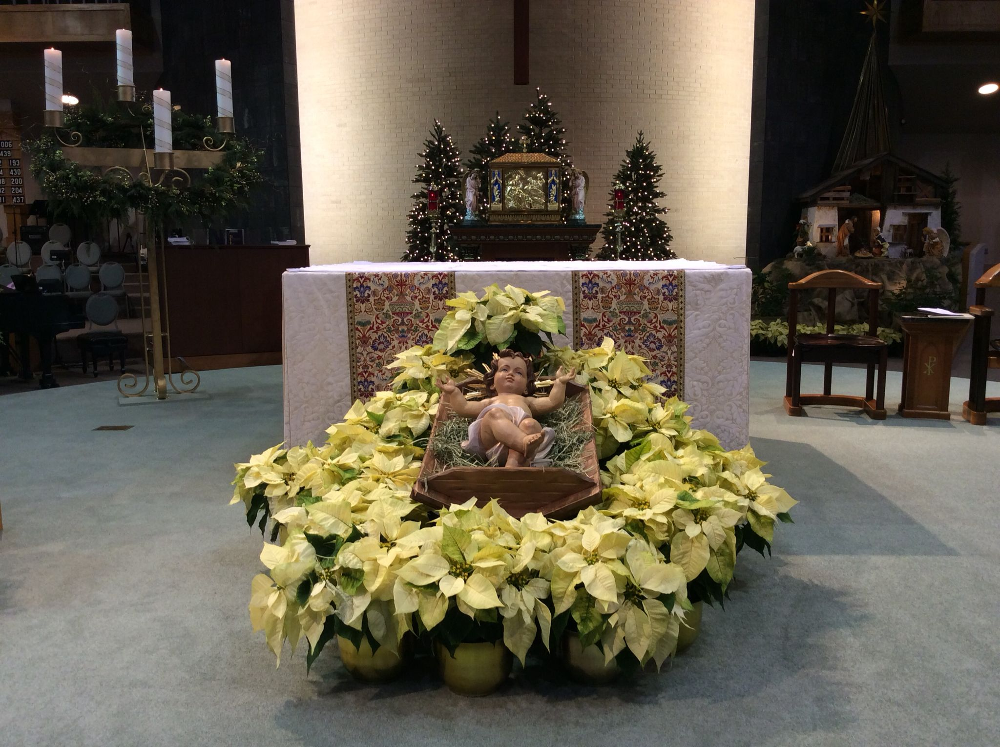 Altar decorated with baby Jesus and poinsettias for Christmas