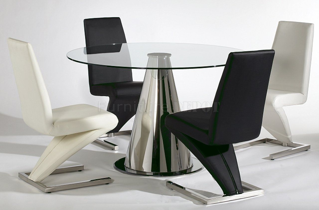 Furniture Modern Dinette Tables Design Ideas Round Table With Gl Countertop Stainless Steel Foot Outstanding Chairs Black