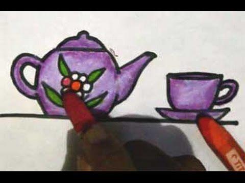 Cara Menggambar Cangkir Dan Teko Dengan Gambar Cara Menggambar