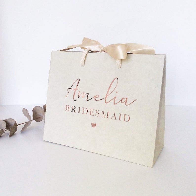 Personalised Cream Bridesmaid Gift Bag Personalised Wedding Etsy In 2020 Bridesmaid Gift Bags Wedding Gift Bags Personalized Wedding Gifts