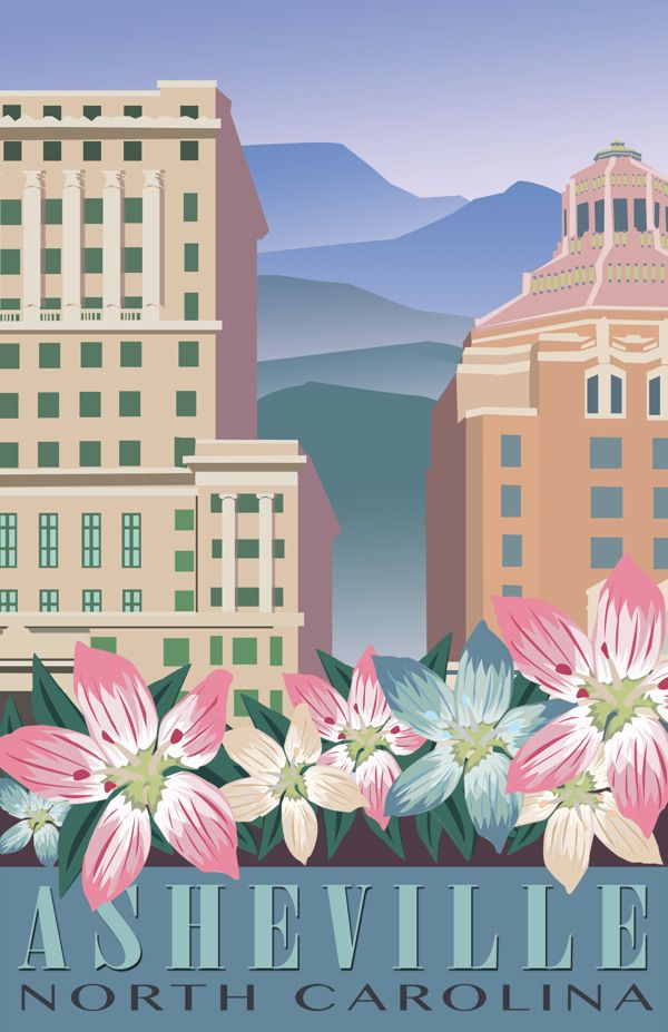 Asheville North Carolina Travel Poster On Scad Portfolios North Carolina Travel Travel Posters Vintage Travel Posters