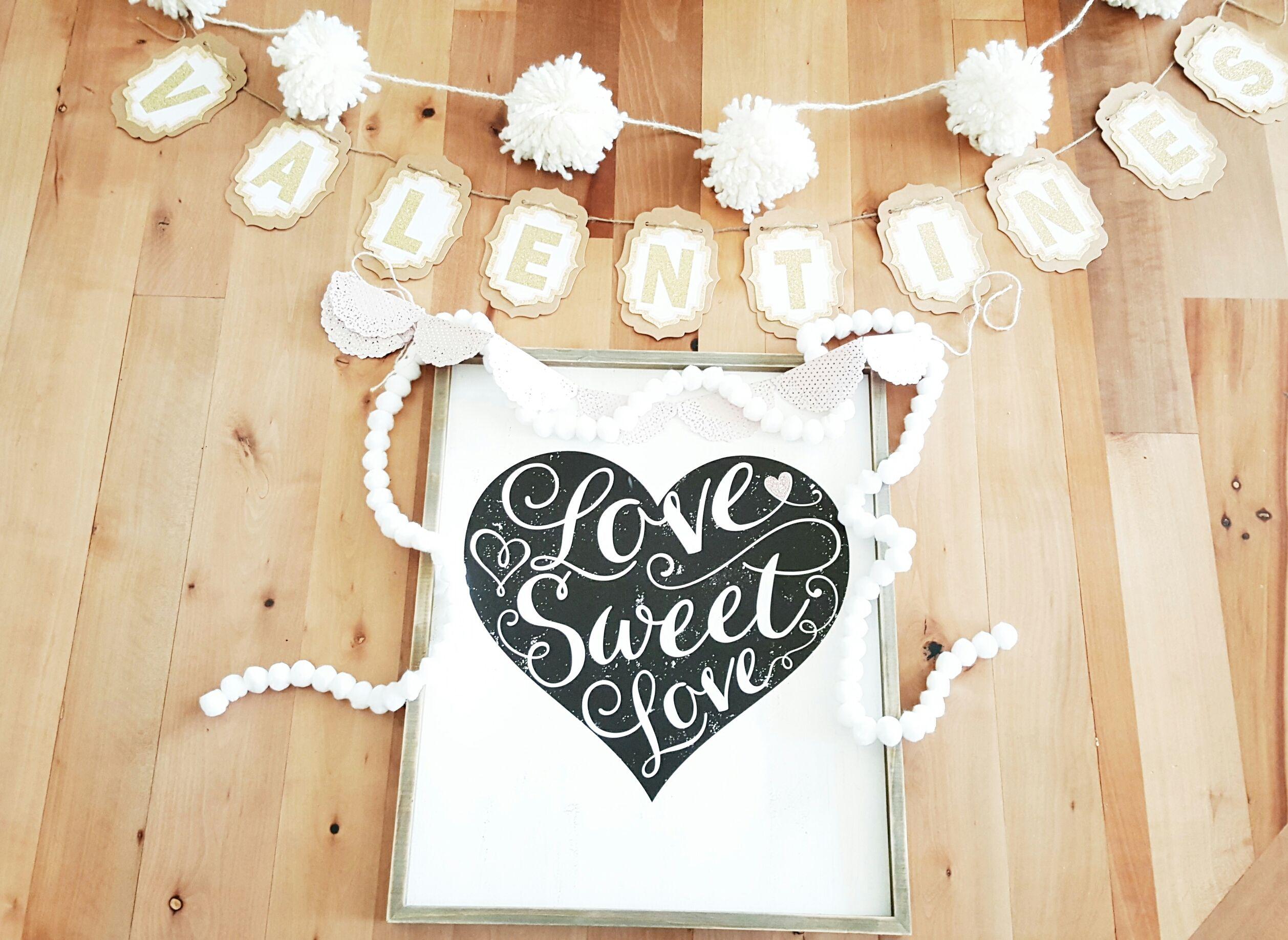 Valentines Garlands, Valentines wood sign, Snowball garland, valentines decor ideas