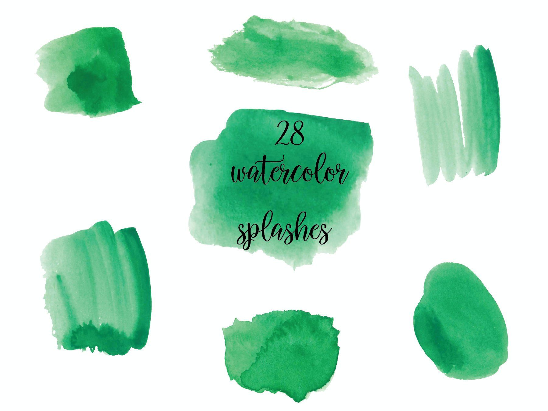 Green Watercolor Splash Clipart Green Watercolor Brush Strokes
