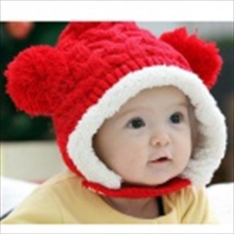 70e92e73c0447e $11.33 Fashion Warm Woolen Hat w/ 2-Balls for Kids - Red + White ...