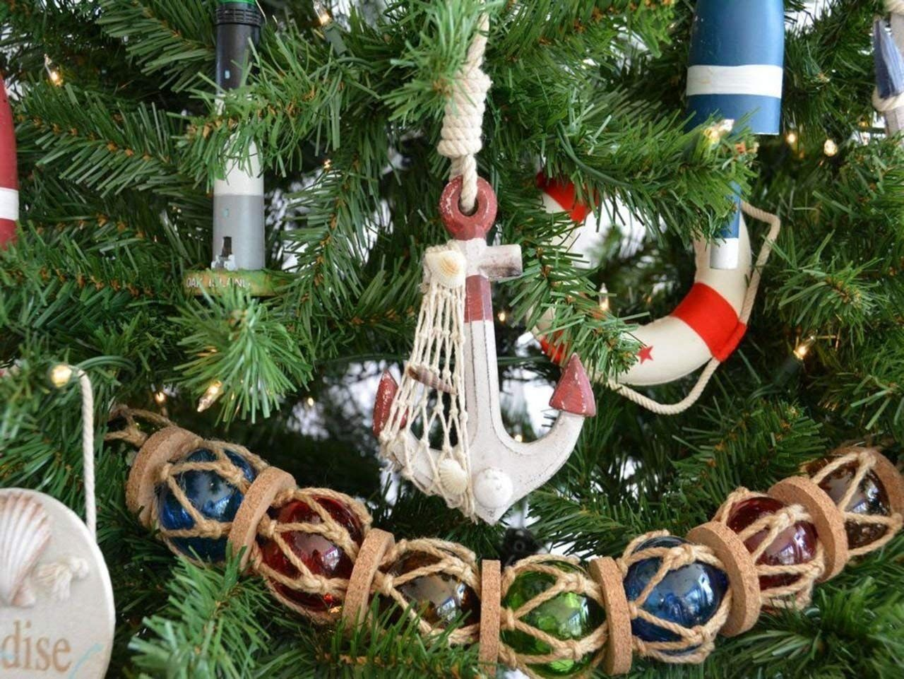 Hampton Nautical Wooden Rustic Red Anchor Christmas Tree Ornament Nautical Christmas Tr Anchor Decor Christmas Tree Decorations Christmas Decorations Bedroom