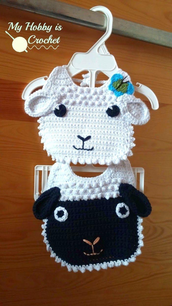 Little Lamb Baby Bib   Free Crochet Pattern   My Hobby is Crochet ...
