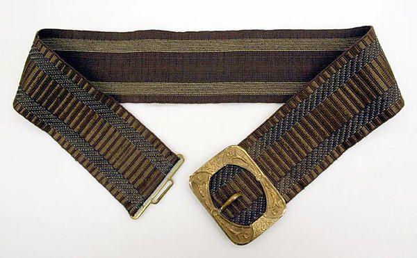 ca. 1830, Gürtel aus Seide, Baumwolle und Metall, Frankreich