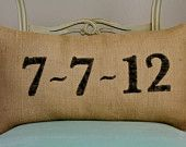 Date Burlap Pillow - Personalized CREAM - that special day....wedding, anniversary, birth of a child....