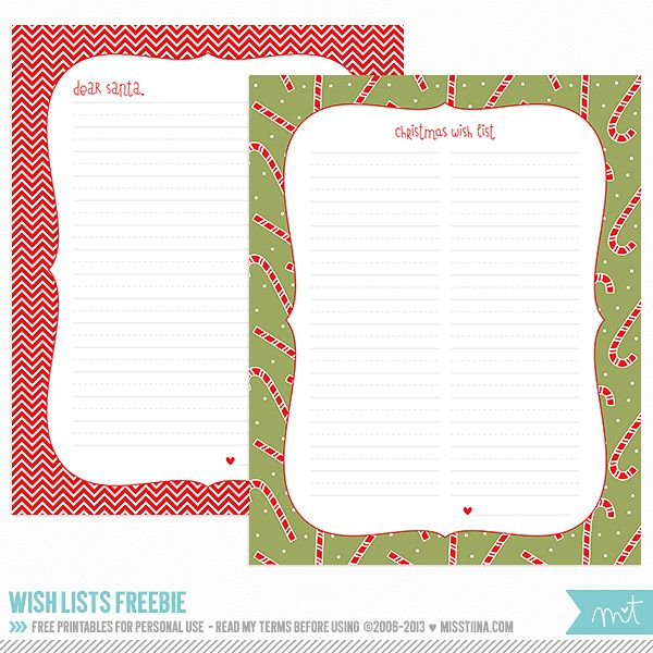 Printable Christmas Freebies! MissTiina {Blog} Christmas - christmas wish list paper