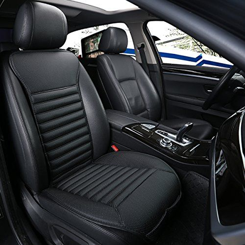 1PCS Breathable Bamboo Charcoal Car Front Seat Cushion Cover Black PU Leather