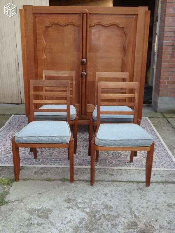 4 chaises chêne guillerme et chambron 1950 une des 4 assises est