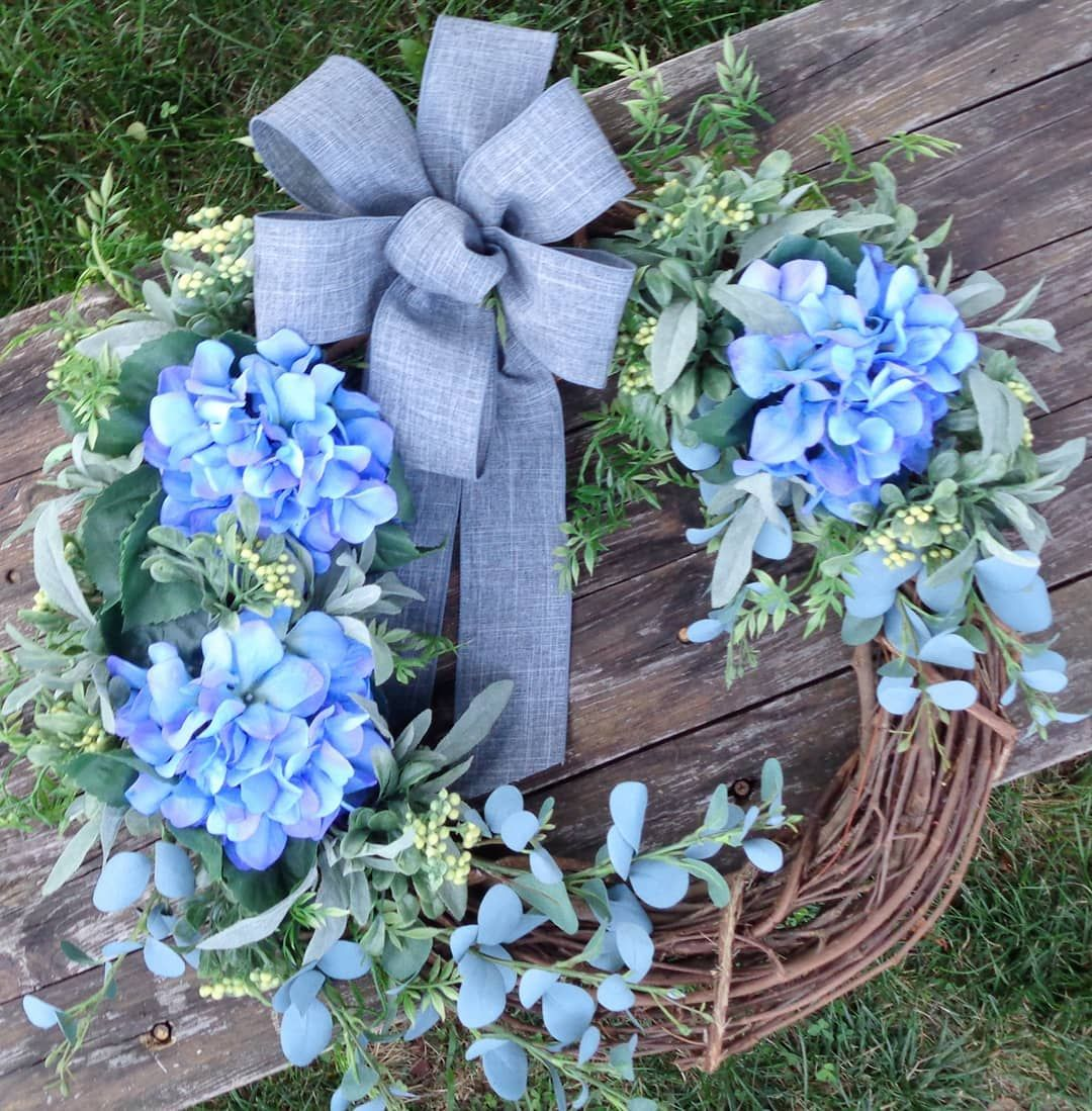 This beauty gets to go to its new home tomorrow ☺️. Thanks for your purchase @stephaniemillerwoshner, (who also happens to be my very supportive sister! 🤭)#bluehydrangeawreath, #clarescustomstudio, #bluehydrangea, #farmhouse wreath, #grapevine wreath, #summer wreath, #countryliving, #farmhousedecor, #farmhousestyle, #rusticdecor, #bluewreath, #bluewreaths, #hydrangealove, #hydrangeaseason, #hydrangeawreath