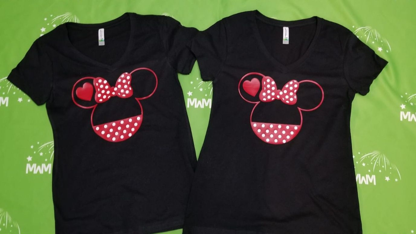 dc6ca583c LGBT Lesbian Minnie Mouse Heads She's Mine I'm Hers Pointing Hands (more  styles available on our site), ladies black v necks by MarriedWithMickey