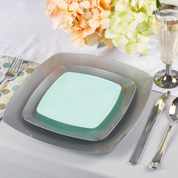 5.5  Renaissance Seafoam Plastic Cake Plates by SmartyHadAParty.com! & 5.5