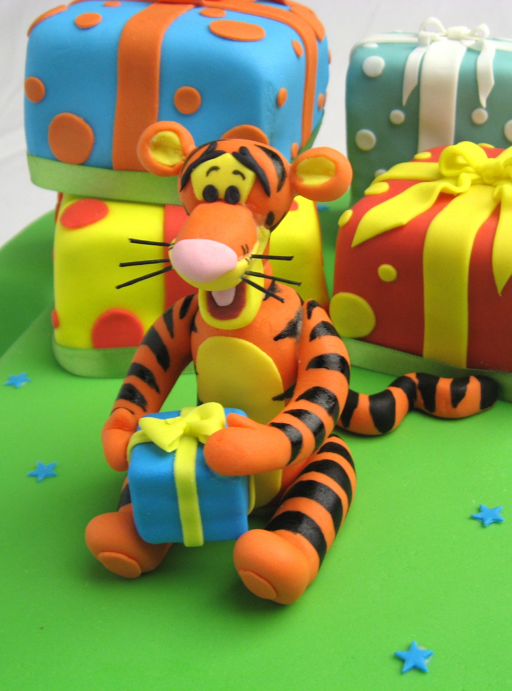 Tigger With Present Sugar Cake Topper From Winnie The Pooh Made By Carrys Toppers