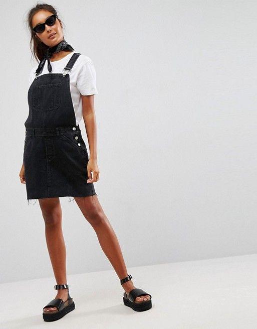 4e00291b437 DESIGN denim dungaree dress in washed black in 2018