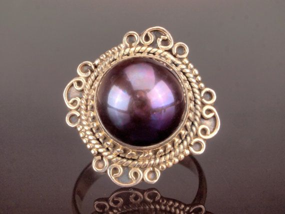 Purple Pearl Silver Ring Tahitian Pearl Ring by BelmontandBellamy
