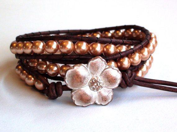 Golden Pearl Triple Wrap Leather Bracelet by TaphiaDesigns on Etsy, $38.00