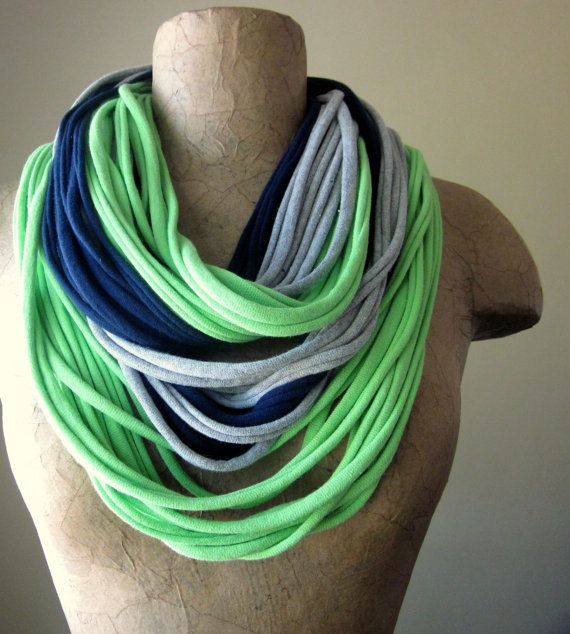 THE STANDARD cotton jersey scarf necklace in lime green & navy.