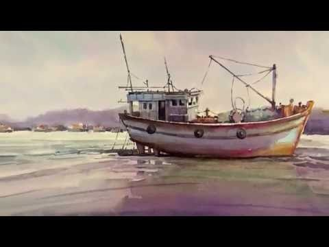 Watercolor Painting Fishing Boats On Sea Material Bockingford