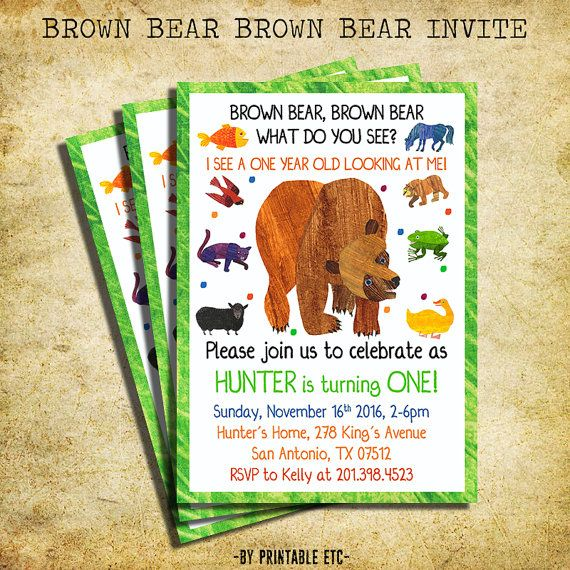 Brown Bear Brown Bear Birthday Invitation Brown By Printableetc Brown Bear Brown Bear Birthday Bear Birthday Bear Birthday Party