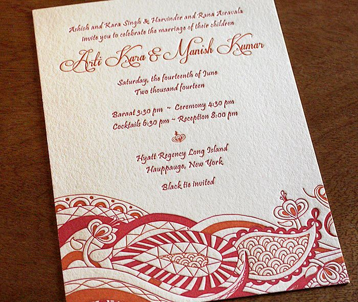 Great Indian Modern Letterpress Wedding Invitation By Invitations By Ajalon