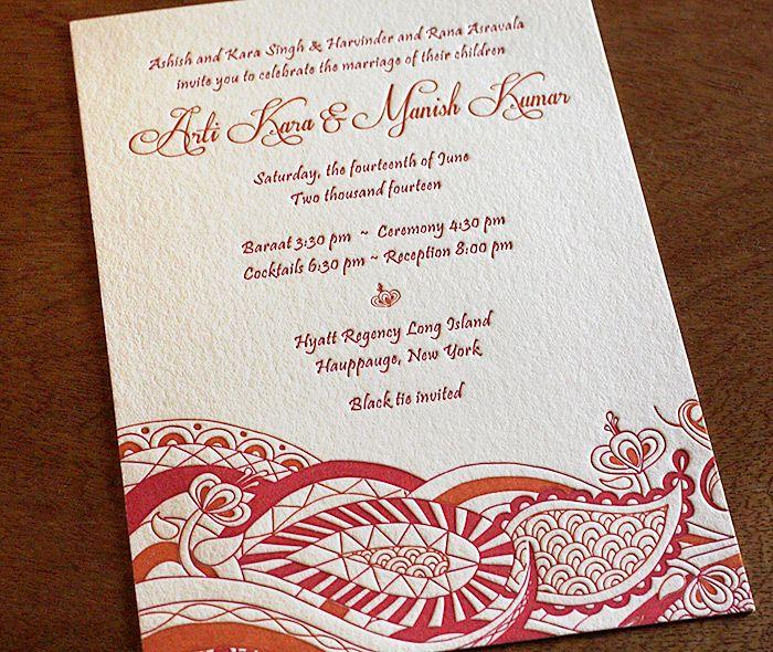 indian modern letterpress wedding invitation by invitations by, Wedding invitations