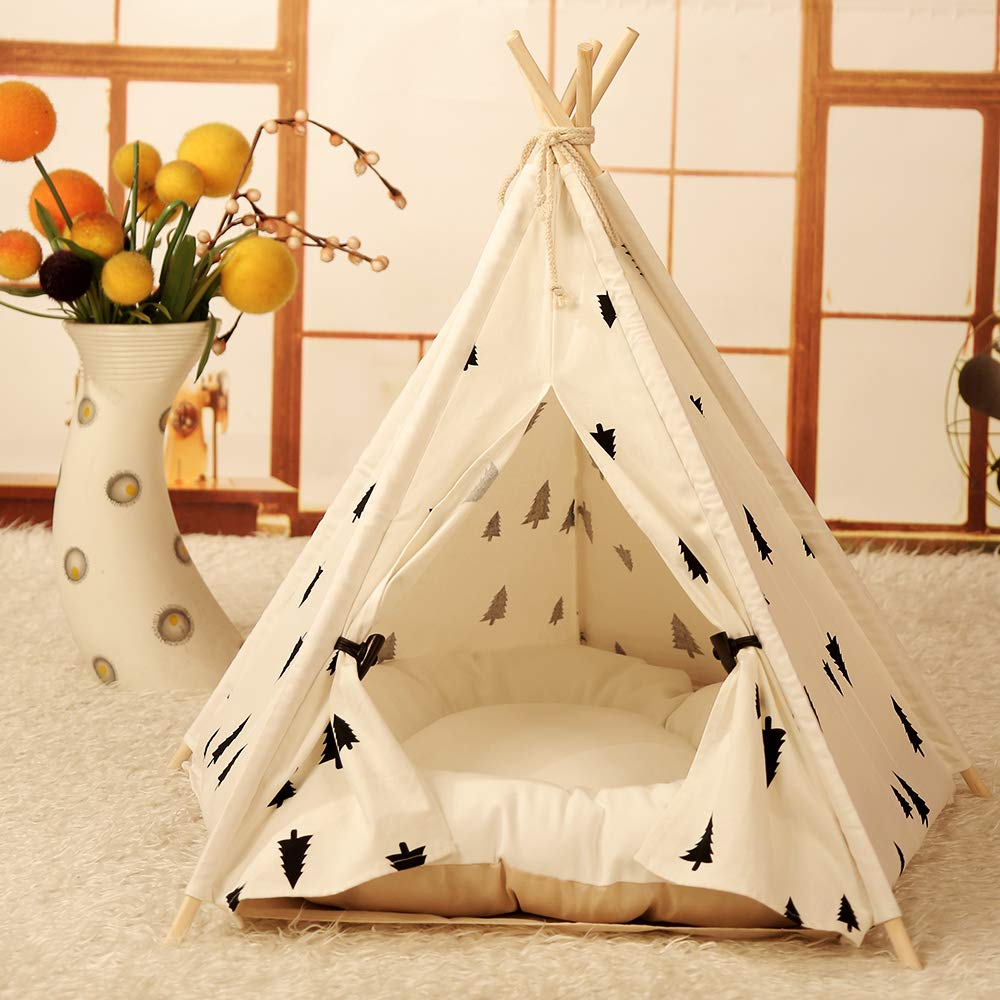Amazonsmile Norgail Pet Teepee Tent For Dogs Cute Modern Dog Pet Teepee Tent Bed House With Cushion Puppy Beds Portable Dog Tent Bed Pet Teepee Puppy Beds