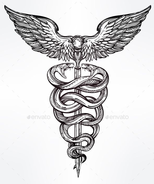 Caduceus Symbol Of God Mercury Illustration Tattoos Vectors