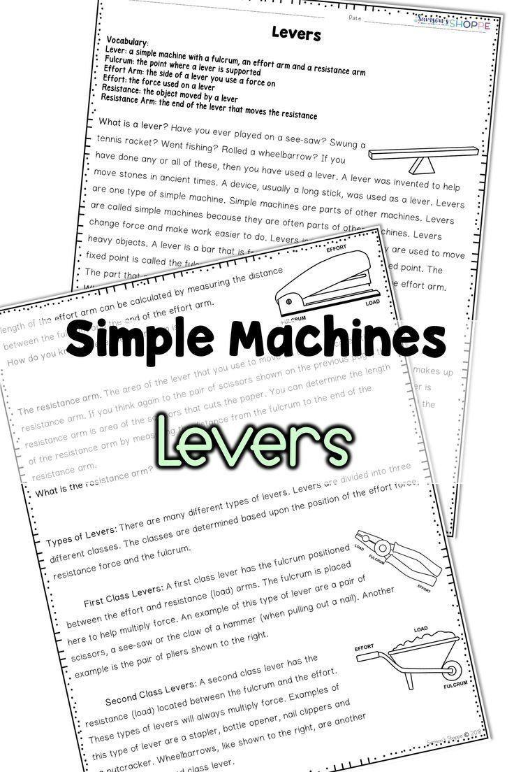 Simple Machines Worksheet Middle School Simple Machines in