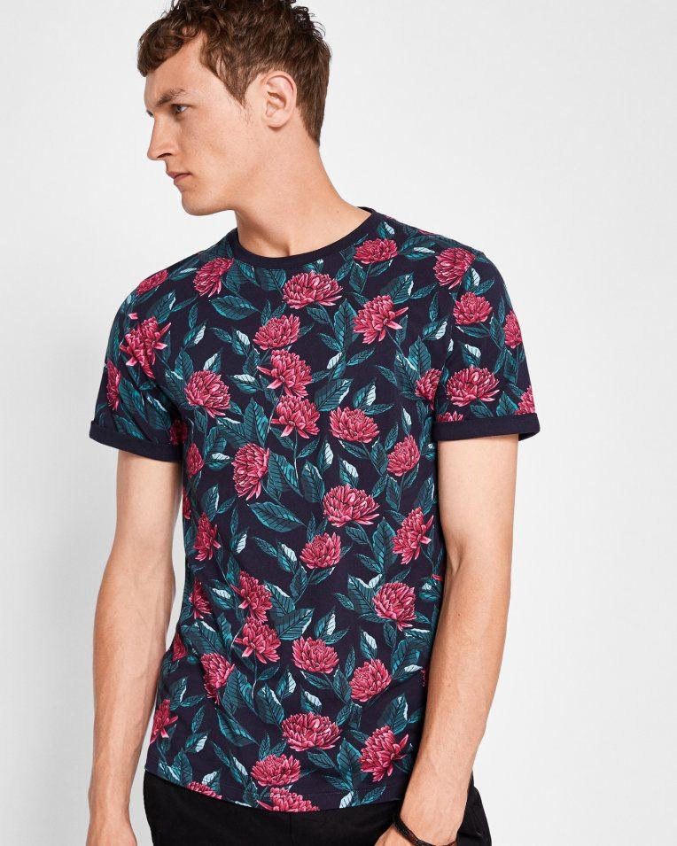 b9f8e8879b1d Floral print cotton T-shirt - Navy