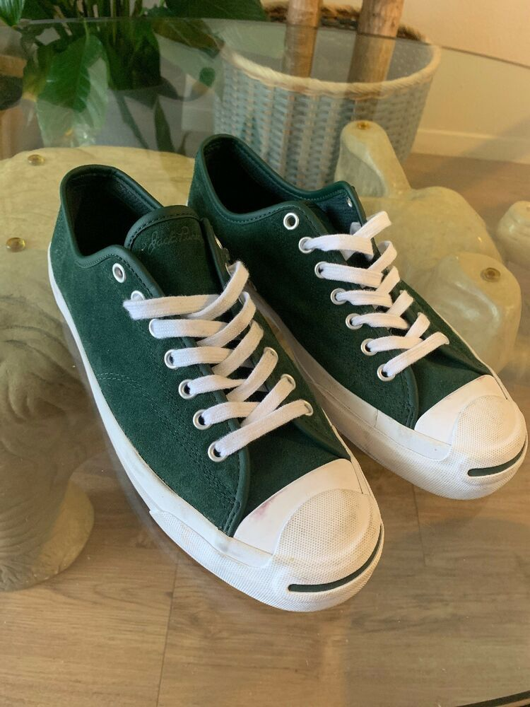 Men Converse Mens Green Suede Jack Purcell Color Sneakers