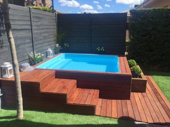 resultado de imagem para piscina de fibra com deck alto backyard pinterest pool ideen. Black Bedroom Furniture Sets. Home Design Ideas
