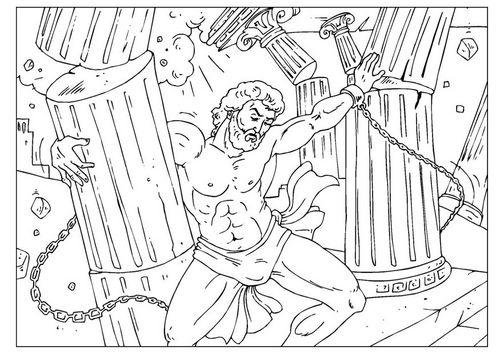 Samson Crushing The Pillars Bible Coloring Page Http Www Edupics Com Coloring Page Samson I25962 Html Bible Coloring Pages Bible Coloring Coloring Books