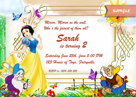 Snow White Printable Birthday Party  Invitation by PartyItems, $6.00