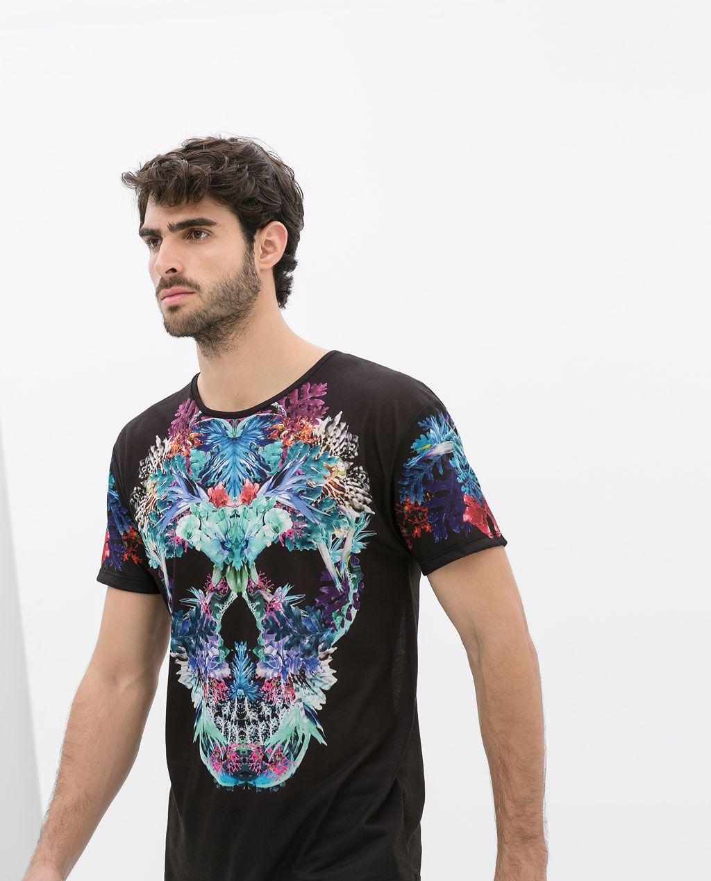 2af2c1b22 ZARA - HOMBRE - CAMISETA CALAVERA FLORES | Moda masculina que adoro ...