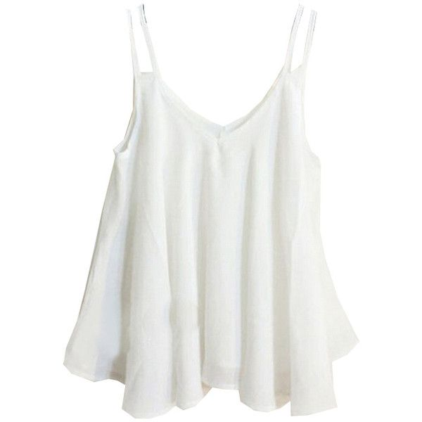 379be57aedb01 Spaghetti Strap Double Layers White Cami Top ( 8.90) ❤ liked on Polyvore  featuring tops