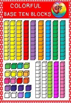 Base Ten Blocks {Colorful Clip Art}   Base ten blocks, Base ten, Clip art