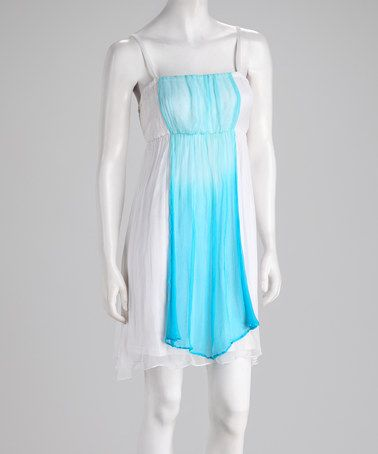 Take a look at this White & Blue Chiffon Color Block Dress by Papillon Imports on #zulily today!