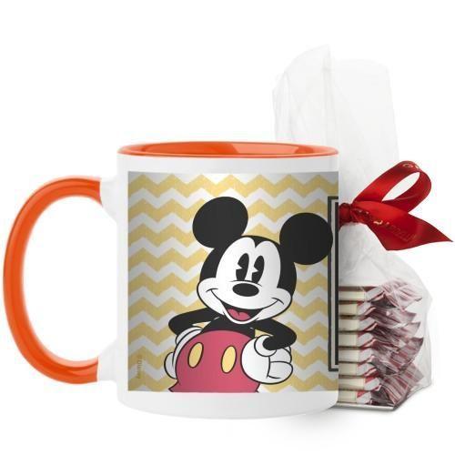 Disney Vintage Mickey Mug, Orange, with Ghirardelli Peppermint Bark, 11 oz, Yellow