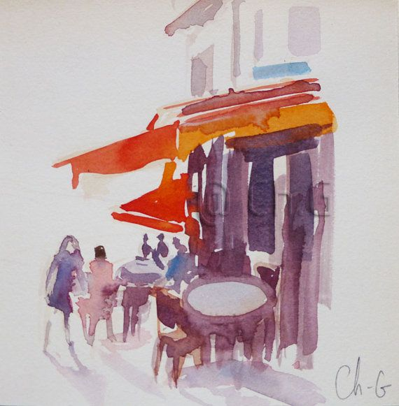Aquarelle Originale Terrasse De Cafe Rue Lepic Par Aquarellesparis