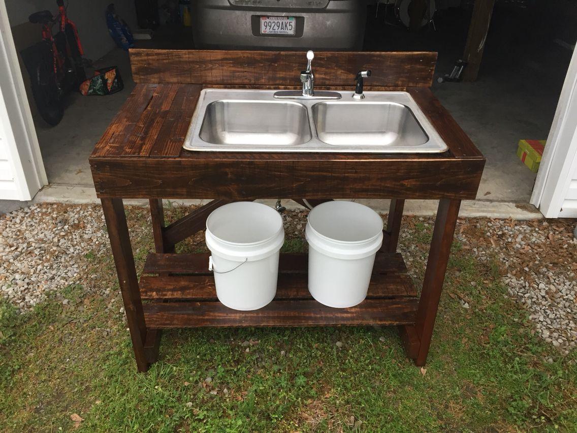 Diy Pallet Wood Washing Station Outdoor Sinks Diy Outdoor Kitchen Garden Sink