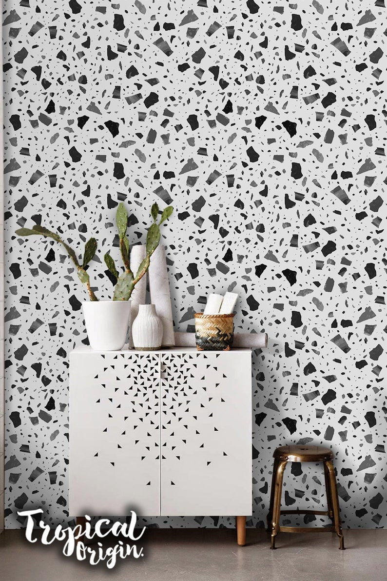 Shapes Black Removable Wallpaper Gray Stones Pattern Random Etsy Removable Wallpaper Fantastic Wallpapers Wallpaper