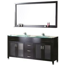 Design Element Waterfall Espresso Double Sink Vanity With Aqua